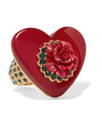 Dolce & Gabbana - Metallic Gold-tone, Swarovski Crystal And Resin Ring - Lyst