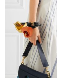 Loewe - Metallic Calla Gold-tone, Smooth And Cracked-leather Bracelet - Lyst