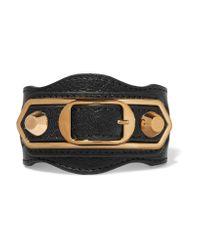 Balenciaga - Black Metallic Edge Textured-leather And Gold-tone Bracelet - Lyst