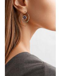 Noor Fares - Metallic Spiral Moon 18-karat Gold, Diamond And Iolite Earrings - Lyst
