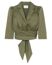 Johanna Ortiz - Green Oriana Wrap-effect Stretch-cotton Poplin Shirt - Lyst