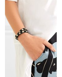 Valentino - Black The Rockstud Leather And Gold-tone Bracelet - Lyst