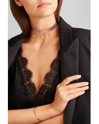 Diane Kordas - Metallic Textured-leather, 18-karat Rose Gold And Diamond Choker - Lyst