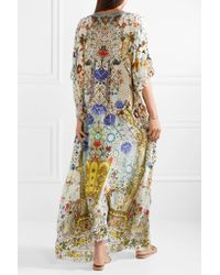 Camilla - White The Butterfly Effect Embellished Printed Silk Crepe De Chine Kaftan - Lyst