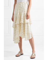 LoveShackFancy - Natural Alex Ruffled Metallic Fil Coupé Silk-blend Georgette Midi Skirt - Lyst
