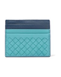Bottega Veneta - Blue Intrecciato Leather Cardholder - Lyst