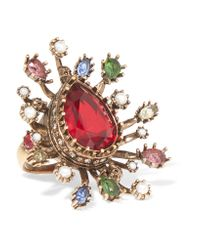 Alexander McQueen - Metallic Gold-plated, Crystal And Faux Pearl Ring - Lyst