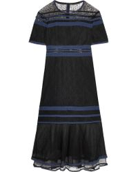 Jonathan Simkhai - Black Tulle-trimmed Lace Midi Dress - Lyst