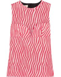 Marni - Red Paneled Striped Cotton-blend Jacquard Top - Lyst