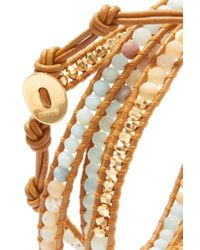 Chan Luu - Metallic Leather, Gold-plated And Amazonite Wrap Bracelet Gold One Size - Lyst