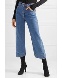 we11done Blue Cropped High-rise Wide-leg Jeans