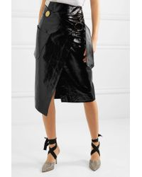 Petar Petrov   Black Ruth Patent-leather Wrap Skirt   Lyst