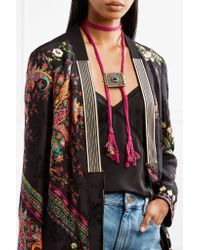 Etro | Multicolor Silk, Burnished Gold-tone And Stone Necklace | Lyst
