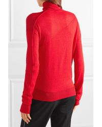 Helmut Lang - Woman Wool And Silk-blend Turtleneck Sweater Red Size S - Lyst