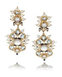 Percossi Papi - Metallic Gold-plated Topaz, Moonstone And Pearl Earrings - Lyst