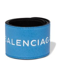 Balenciaga - Blue Cycle Textured-leather Cuff - Lyst