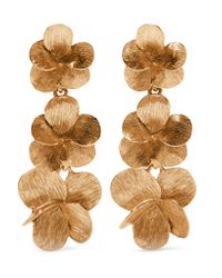 Oscar de la Renta - Metallic Gold-plated Clip Earrings - Lyst
