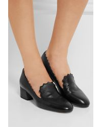 Chloé - Black Scalloped Textured-leather Pumps - Lyst