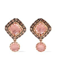 Larkspur & Hawk - Multicolor Caprice Cushion 14-karat Rose Gold, Diamond And Quartz Earrings - Lyst