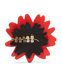 Marni - Red Leather, Gold Tone And Crystal Brooch - Lyst