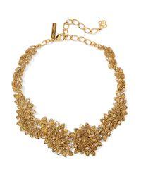 Oscar de la Renta | Metallic Gold-plated Swarovski Crystal Necklace | Lyst