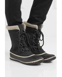 Sorel - Black Caribou Slim Waterproof Nubuck And Rubber Boots - Lyst