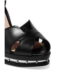 Alexander McQueen - Black Embellished Leather Platform Sandals - Lyst