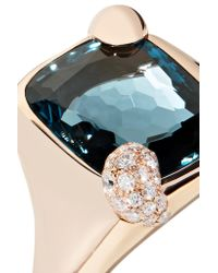 Pomellato - Metallic Ritratto 18-karat Rose Gold, Topaz And Diamond Ring - Lyst