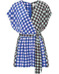 Diane von Furstenberg - Blue Short Sleeve Wrap Romper - Lyst