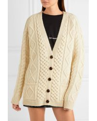 Saint Laurent - White Oversized Chunky-knit Wool Cardigan - Lyst
