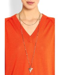 Givenchy - Metallic Shark Tooth Necklace In Pale Gold-Tone, Swarovski Crystal And Faux Pearl - Lyst