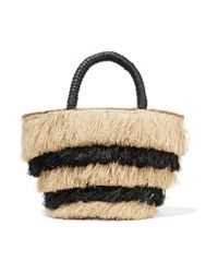 Kayu - Black Pinata Mini Leather-trimmed Fringed Straw Tote - Lyst