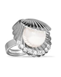 Miu Miu - Metallic Silver-tone Faux Pearl And Crystal Ring - Lyst