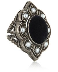 Gucci | Metallic Palladium-plated, Faux Pearl And Velvet Ring | Lyst