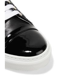 Lanvin - Black Patent Leather-trimmed Tweed Sneakers - Lyst