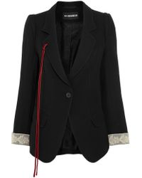 Ann Demeulemeester - Black Lace And Velvet-trimmed Wool-blend Gabardine Blazer - Lyst