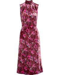 Prada - Pink Floral-print Velvet Midi Dress - Lyst