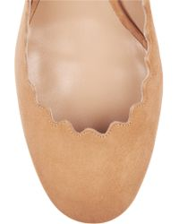 Chloé - Natural Scalloped Suede Pumps - Lyst