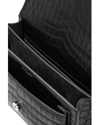 Saint Laurent | Black Sunset Medium Croc-effect Leather Shoulder Bag | Lyst