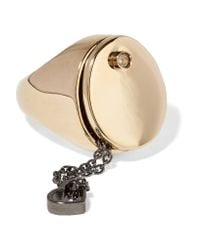 Maison Margiela   Metallic Gold-tone Crystal Ring   Lyst