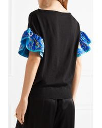 Emilio Pucci Black Silk Twill-trimmed Wool Top