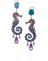 Lydia Courteille | Multicolor 18-karat Blackened White Gold Multi-stone Earrings | Lyst