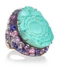 Lydia Courteille   Metallic Fille Du Ciel 18-karat Blackened White Gold, Turquoise And Sapphire Ring   Lyst