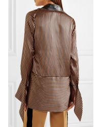 Petar Petrov | Brown Leather-trimmed Asymmetric Striped Silk-satin Blouse | Lyst