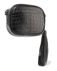 Saint Laurent | Black Monogramme Blogger Croc-effect Leather Shoulder Bag | Lyst