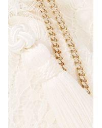 Etro - White Tasseled Lace And Silk-jacquard Bucket Bag - Lyst