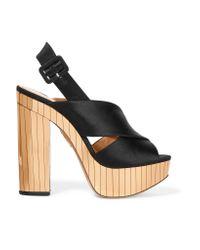 Charlotte Olympia - Black Electra Satin Platform Sandals - Lyst
