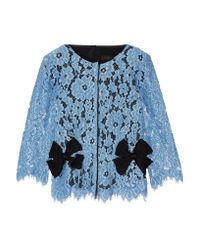Marc Jacobs - Blue Bow-embellished Silk Twill-paneled Guipure Lace Top - Lyst