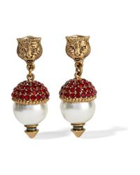 Gucci - Metallic Gold-plated, Crystal And Faux Pearl Clip Earrings - Lyst
