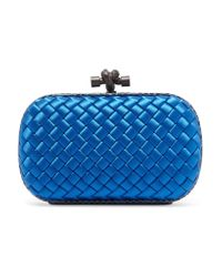 Bottega Veneta | Blue The Knot Watersnake-trimmed Intrecciato Satin Clutch | Lyst